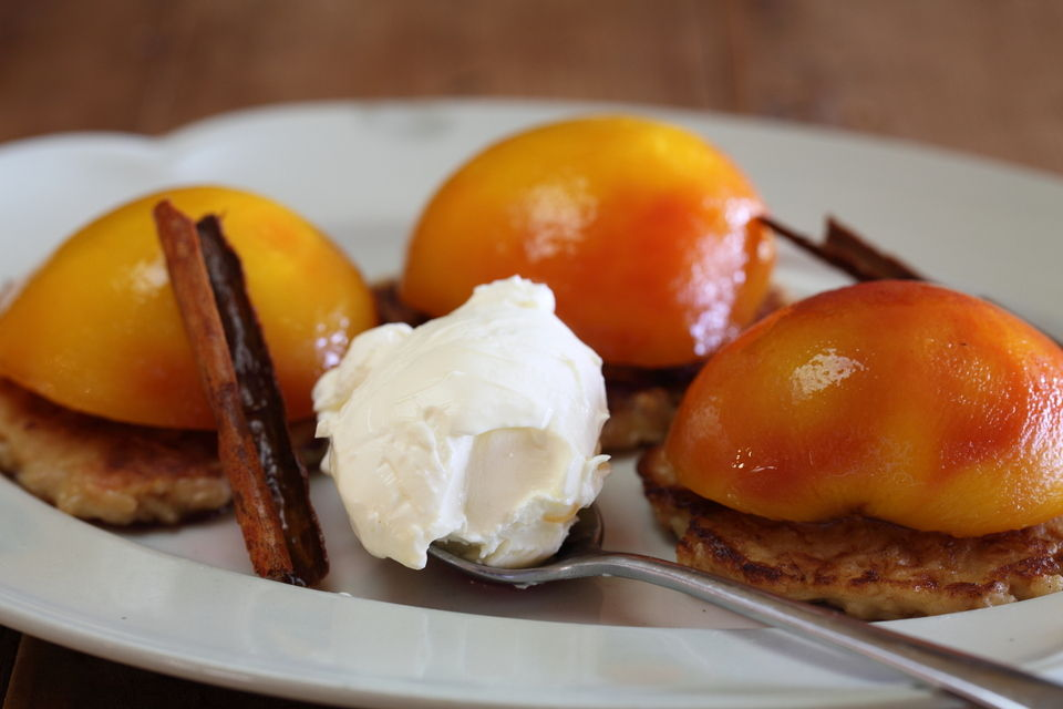 Poached Peaches with Oat Buttermilk Pancakes
