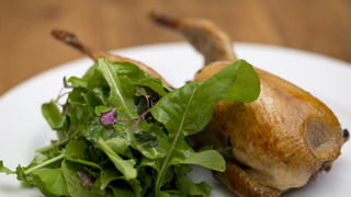 Baked Stuffed Quail with Vino Cotto and Rocket